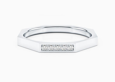 Alliance Or Blanc 18 cts Diamants Oriana Pavée